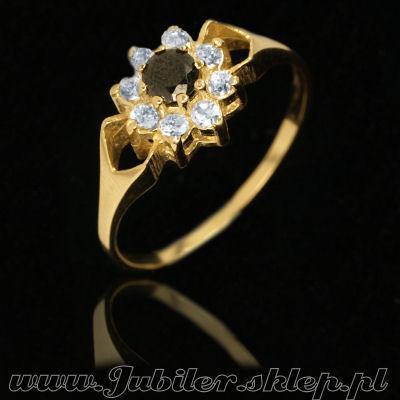 Biżuteria W Jubiler Pierścionki Złote Z Onyksem I Cyrkoniami Mh Ch