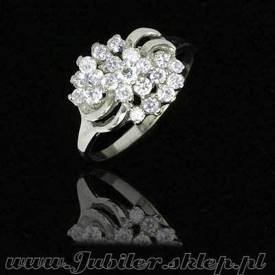 Jeweller shop, Ring of white gold with zircons