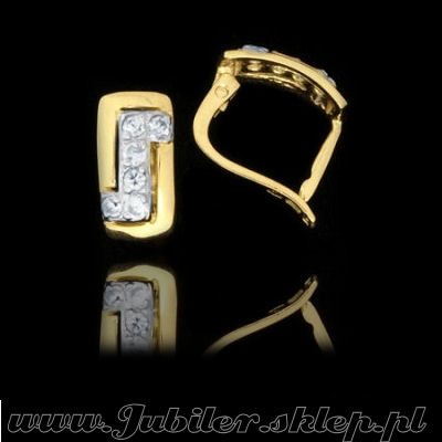 Jeweller shops, gifts, 14k, Gold earrings with zircons