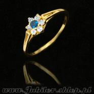 Gold rings with sapphire and zircons