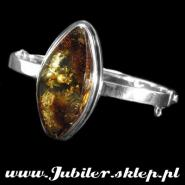 Silver bracelet with an amber