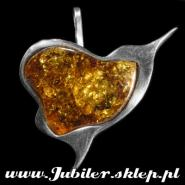 Silver brooch with  an amber