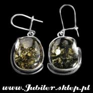 Silver earrings with an amber