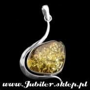 Jeweller shops, gifts, Silver Pendant with an amber