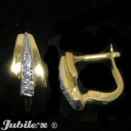 Gold earrings with zircons
