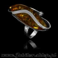 Silver ring with an amber