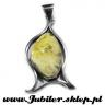 Silver Pendant with an amber